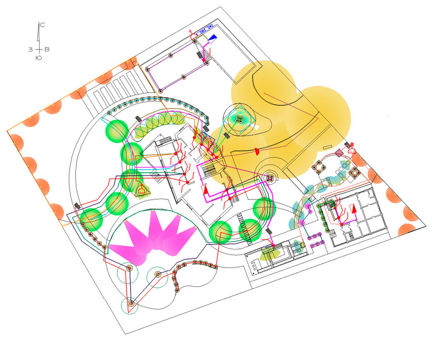 """Ландшафтные работы.  КП  """"Антоновка """" 2009-2010.  Схема системы освещения в составе ландшафтного проекта."""