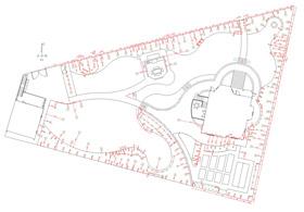Ландшафтный дизайн. Посадочный чертеж показывает точные места посадки всех высаживаемых растений с четкой привязкой к точкам на местности.