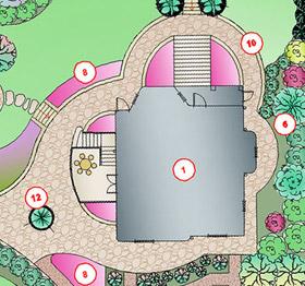 Часть генерального плана, на которой видно расположение бокового крыльца дома